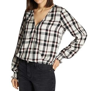 Sanctuary Beige Plaid Long Sleeve Shirt